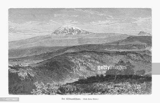 mount kilimanjaro, tanzania, wood engraving, published in 1897 - mt kilimanjaro stock illustrations, clip art, cartoons, & icons