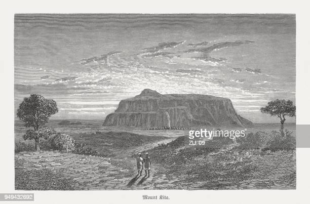 """Mount Kita (""""Kita-kulu"""") in Mali, wood engraving, published in 1868"""