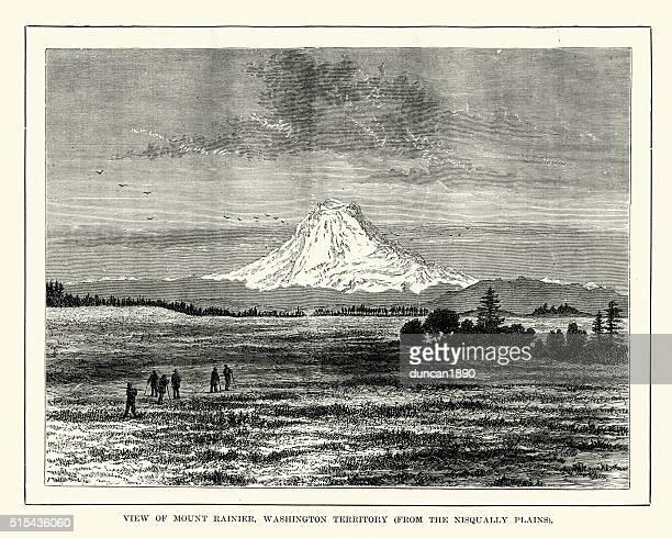 mount rainier, washington territory 19th century - stratovolcano stock illustrations, clip art, cartoons, & icons