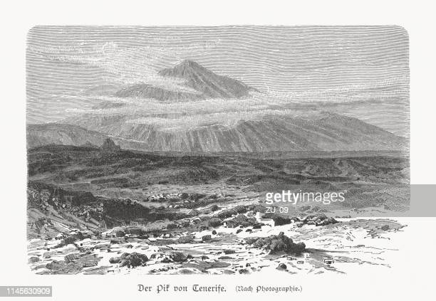 mount teide, tenerife, highest mount in spain, woodcut, published 1897 - canary islands stock illustrations, clip art, cartoons, & icons