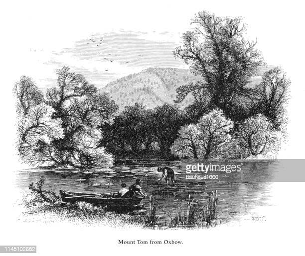 mount tom from the oxbow, connecticut river, valley of the connecticut, massachusetts, united states, american victorian engraving, 1872 - connecticut river stock illustrations, clip art, cartoons, & icons