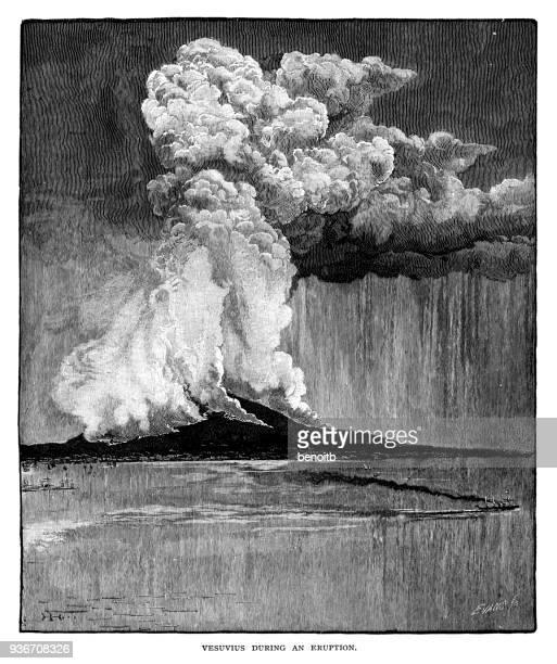 mount vesuvius erupting - volcano stock illustrations, clip art, cartoons, & icons