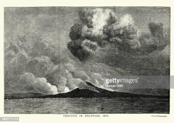 mount vesuvius eruption of 1872 - mt vesuvius stock illustrations, clip art, cartoons, & icons