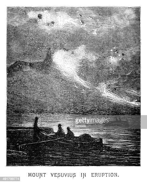 mount vesuvius in eruption - stratovolcano stock illustrations, clip art, cartoons, & icons
