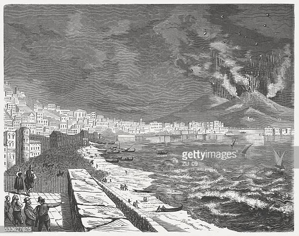 mount vesuvius on april 24, 1872, wood engraving, published in 1872 - mt vesuvius stock illustrations, clip art, cartoons, & icons