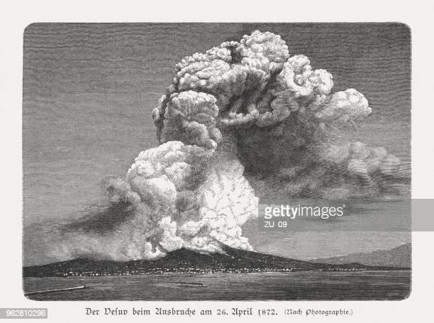 mount vesuvius on april 26, 1872, wood engraving, published 1897 - erupting stock illustrations, clip art, cartoons, & icons