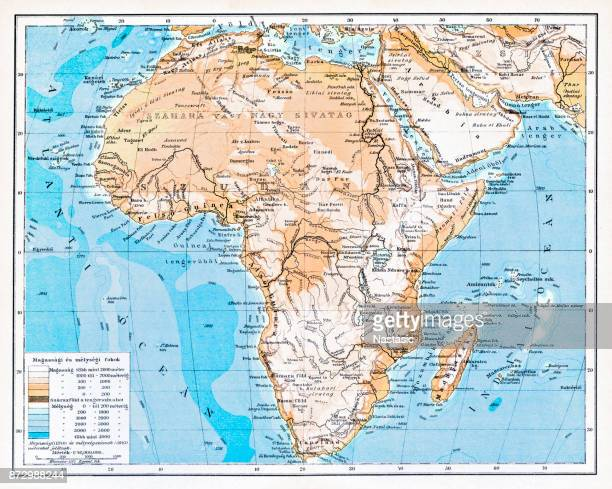 mountain and hydrographic map of africa - mt kilimanjaro stock illustrations, clip art, cartoons, & icons