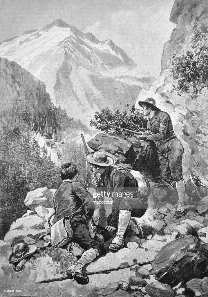 Mountain deer hunting _ 1895 : stock illustration