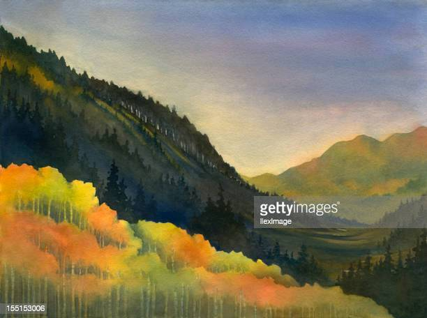 mountain gold - aspen tree stock illustrations, clip art, cartoons, & icons