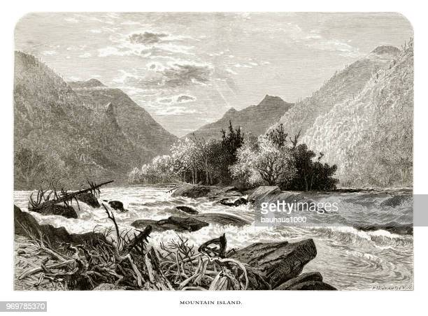 mountain island, french broad river, north carolina, united states, american victorian engraving, 1872 - rapid stock illustrations