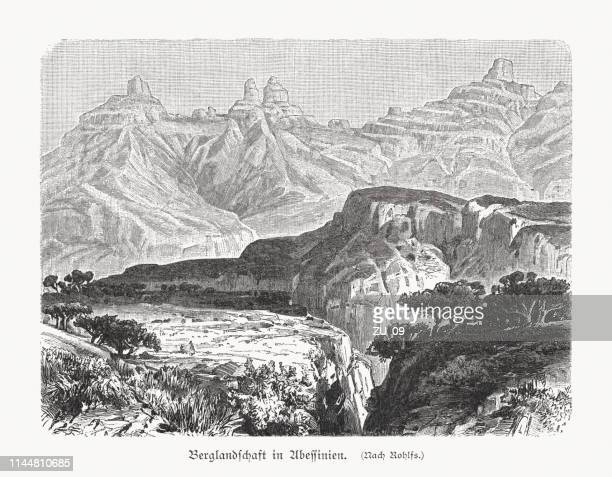mountain landscape in abyssinia, ethiopia, wood engraving, published in 1897 - ethiopia stock illustrations, clip art, cartoons, & icons