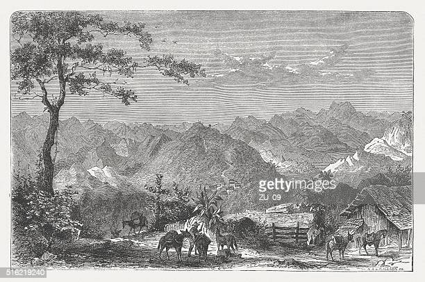 Mountain landscape in the Colombia, wood engraving, published in 1873