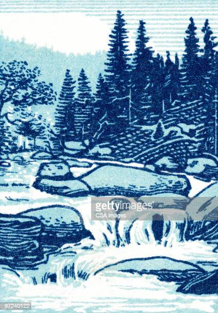 mountain spring - rapid stock illustrations