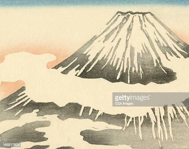 ilustrações, clipart, desenhos animados e ícones de vulcão montanha - mt. fuji