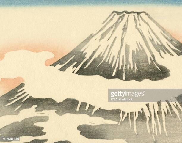 ilustraciones, imágenes clip art, dibujos animados e iconos de stock de volcán de las montañas - mt. fuji