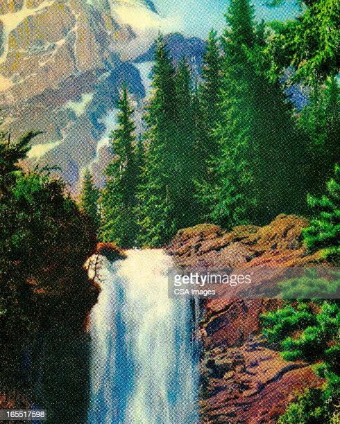 mountain waterfall - waterfall stock illustrations, clip art, cartoons, & icons