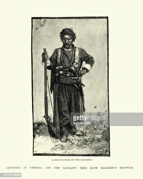 mountaineer of the caucasus, 19th century - georgian culture stock illustrations