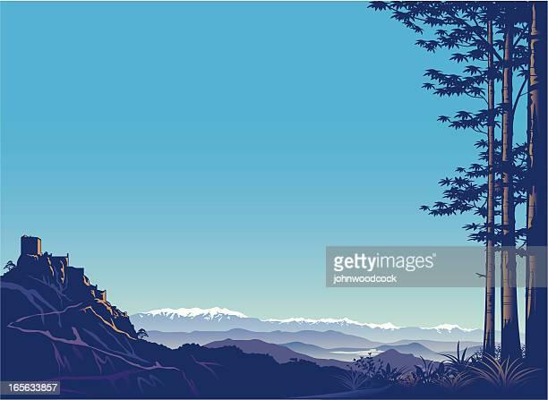 illustrations, cliparts, dessins animés et icônes de montagnes et du château de. - côte d'azur