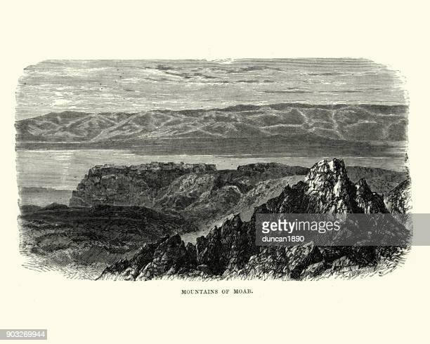 mountains of moab - historical palestine stock illustrations