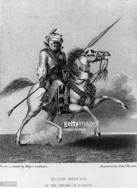 Mounted bodyguard from the entourage of the Sheikh of Bornou. The Kanem-Bornu Empire was founded in the 9th century by peoples living near Lake Chad,...