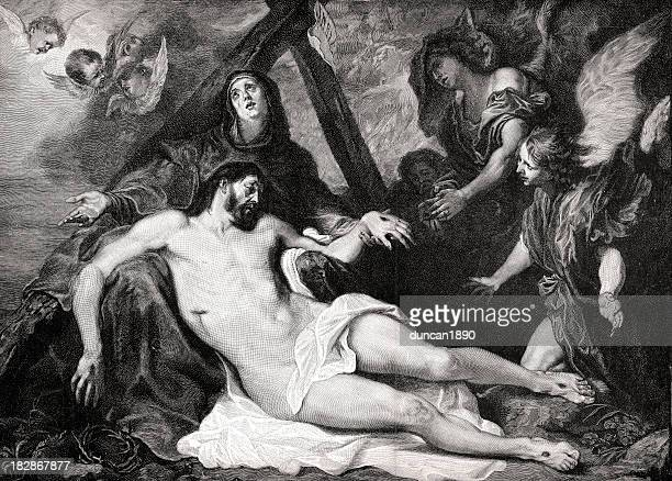 mourning the dead christ - biblical event stock illustrations