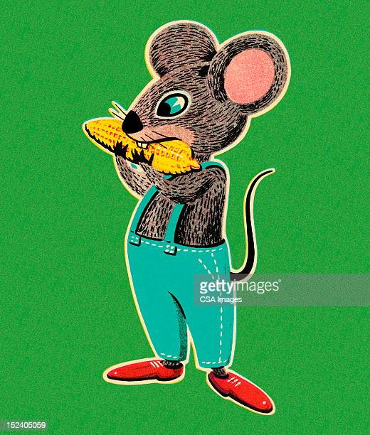 mouse eating corn - cute mouse stock illustrations