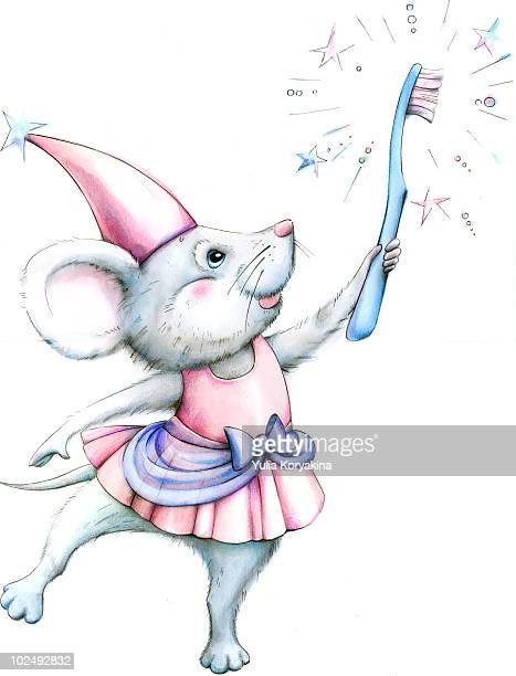 mouse holding toothbrush - standing on one leg stock illustrations, clip art, cartoons, & icons