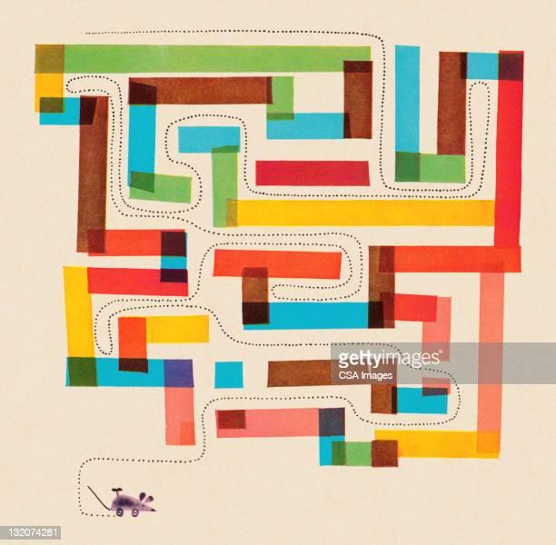 illustrazioni stock, clip art, cartoni animati e icone di tendenza di labirinto del mouse - intrico