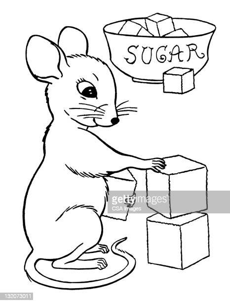 mouse stacking sugarcubes - sugar cube stock illustrations, clip art, cartoons, & icons