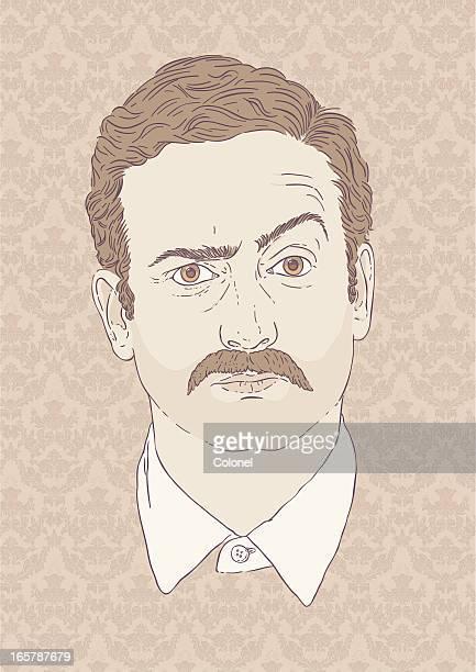 Moustachioed Man - Retro style