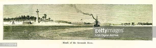 mouth of the savannah river, georgia - savannah georgia stock illustrations, clip art, cartoons, & icons