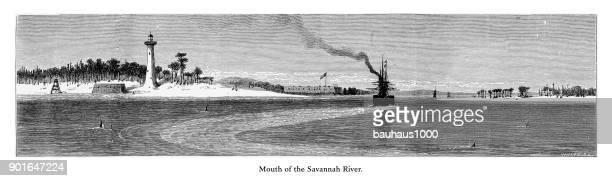mouth of the savannah river, savannah, georgia, united states, american victorian engraving, 1872 - savannah georgia stock illustrations, clip art, cartoons, & icons