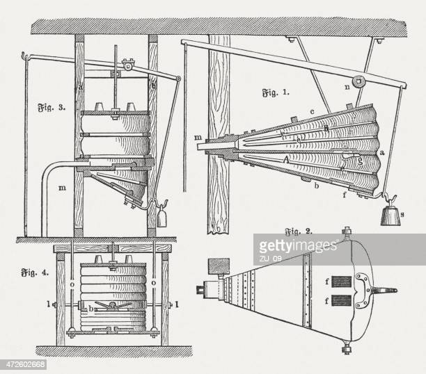 movable and fixed bellows, wood engravings, published in 1874 - supercharged engine stock illustrations, clip art, cartoons, & icons