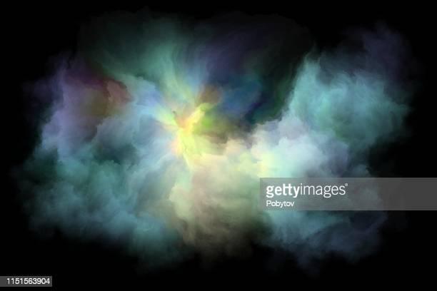 illustrations, cliparts, dessins animés et icônes de mouvement de nuages multicolores sur un fond noir - brouillard