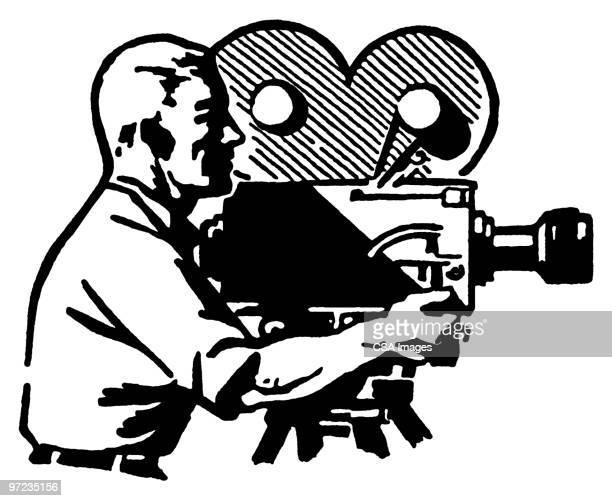 movie camera - cinematographer stock illustrations, clip art, cartoons, & icons