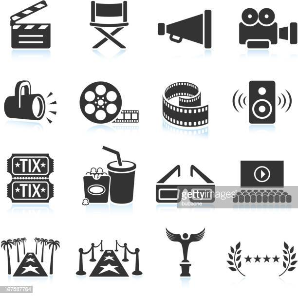movie industry black & white royalty free vector icon set - film set stock illustrations