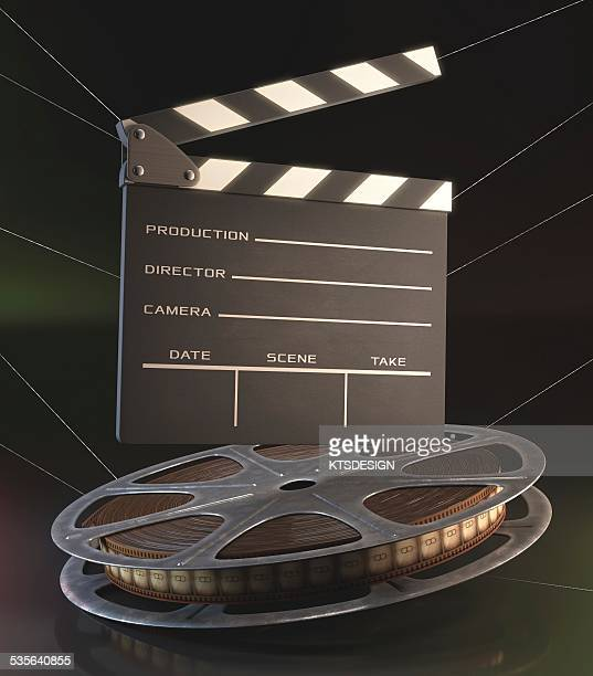 ilustraciones, imágenes clip art, dibujos animados e iconos de stock de movie reel and clapperboard, illustration - rollo de cine