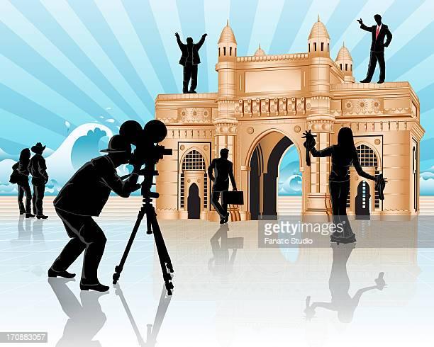 movie shooting at a monument, gateway of india, mumbai, maharashtra, india - actor stock illustrations, clip art, cartoons, & icons