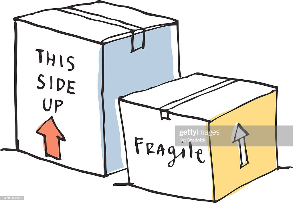 Moving boxes against white background : Stock Illustration