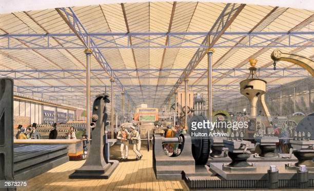 Moving machinery at the Great Exhibition in Crystal Palace, the glass and iron building designed by Joseph Paxton, at Hyde Park, London. Original...