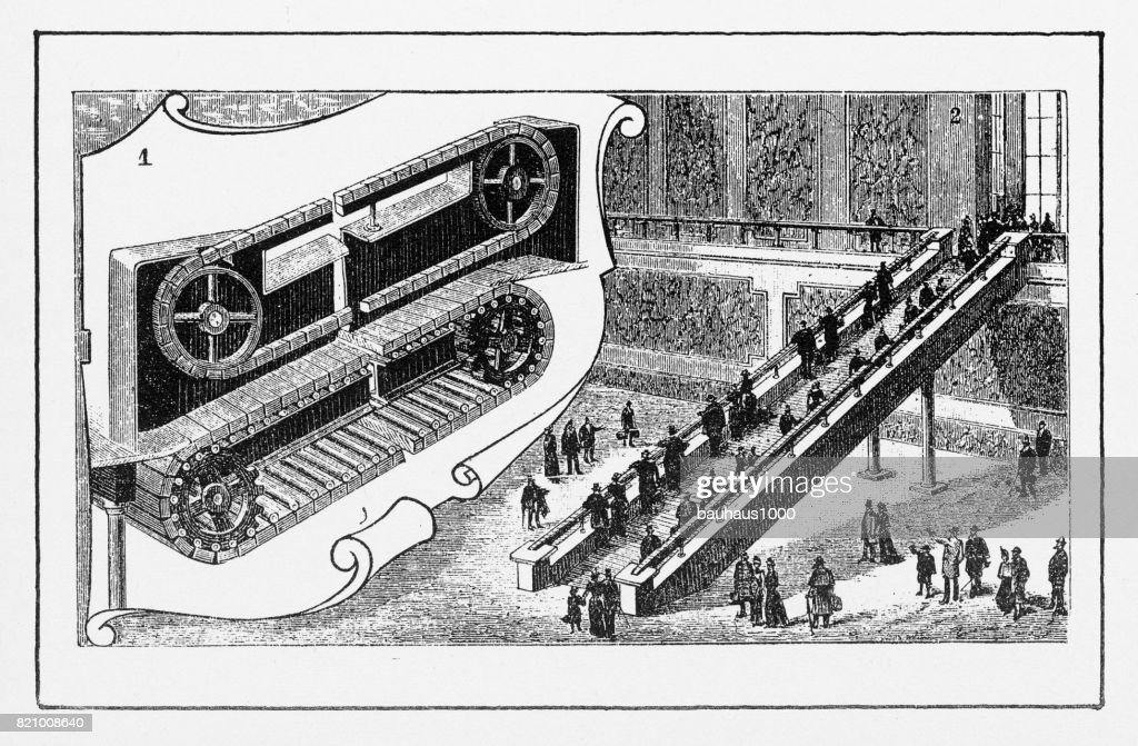 Moving Staircase In New York, Early American Engraving : Stock Illustration
