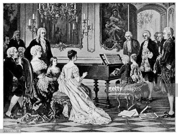 mozart and his sister perform for empress maria theresa by august borckmann - 19th century - empress stock illustrations, clip art, cartoons, & icons