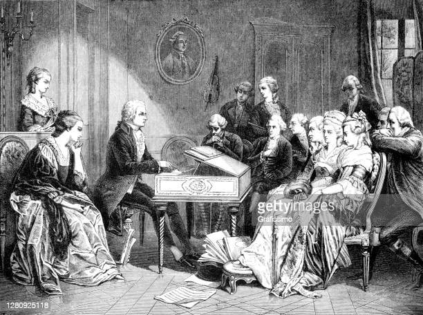mozart playing the first time don juan - wolfgang amadeus mozart stock illustrations