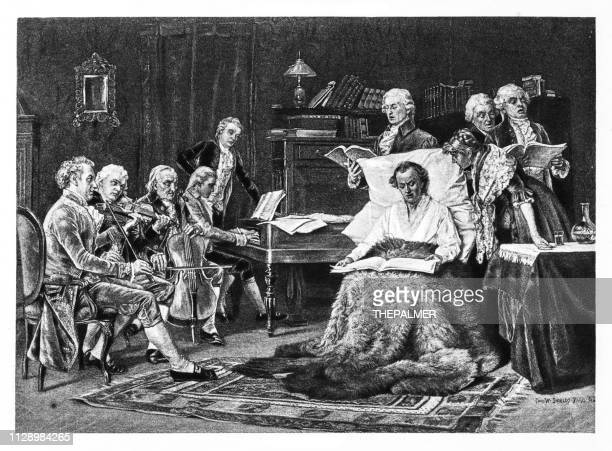 mozart singing his requiem engraving 1894 - wolfgang amadeus mozart stock illustrations
