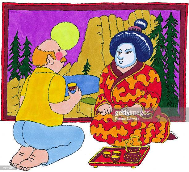 mr. at tea ceremony - only japanese stock illustrations, clip art, cartoons, & icons