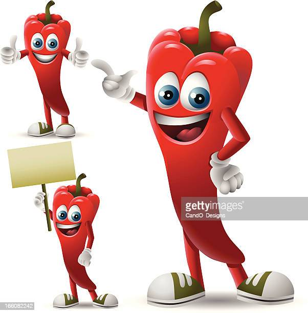 mr. chili pepper: 3 in 1 - red chili pepper stock illustrations, clip art, cartoons, & icons