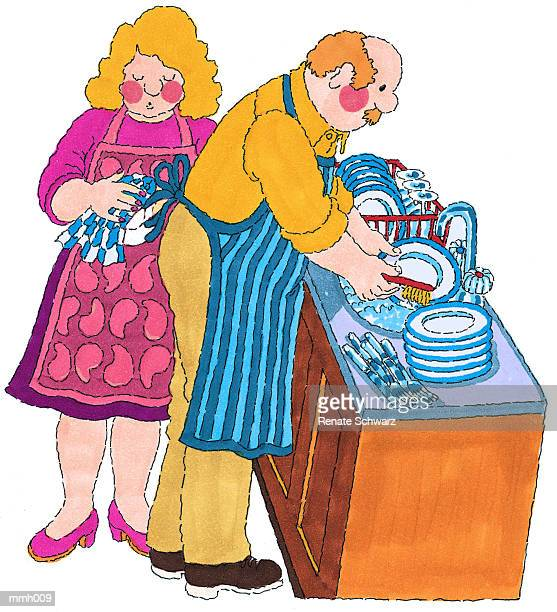 mr. doing dishes - washing dishes stock illustrations, clip art, cartoons, & icons