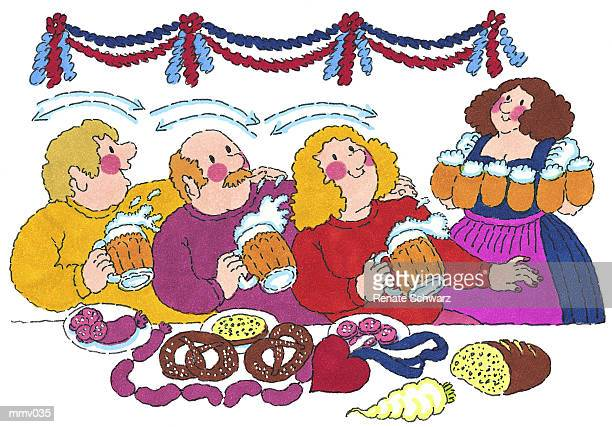 mr. & mrs. at german beer hall - lager stock illustrations, clip art, cartoons, & icons
