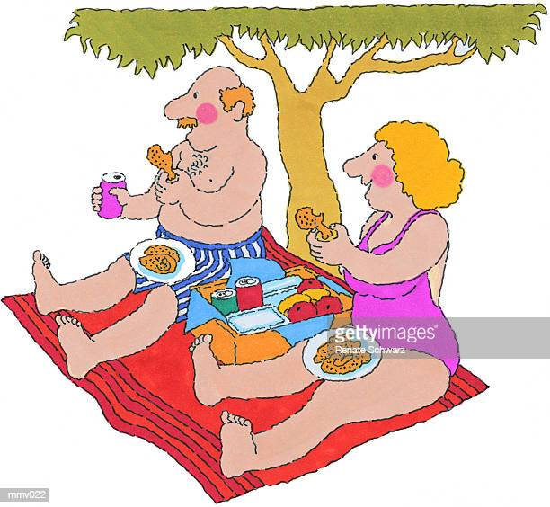 mr. & mrs. having picnic - picnic blanket stock illustrations, clip art, cartoons, & icons