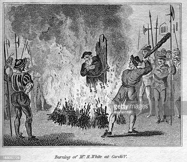 mr r white burned at the stake - south wales stock illustrations